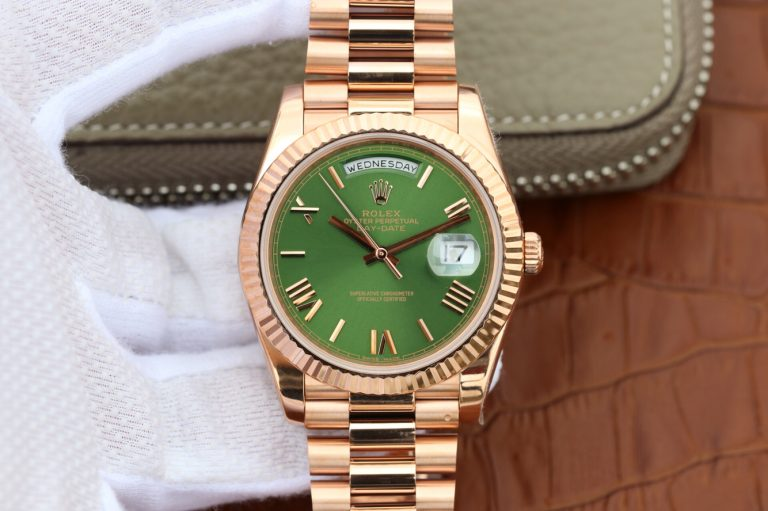 Replica Rolex Day-Date 228206 Rose Gold Watch with Green Dial Clone 3255 Movement